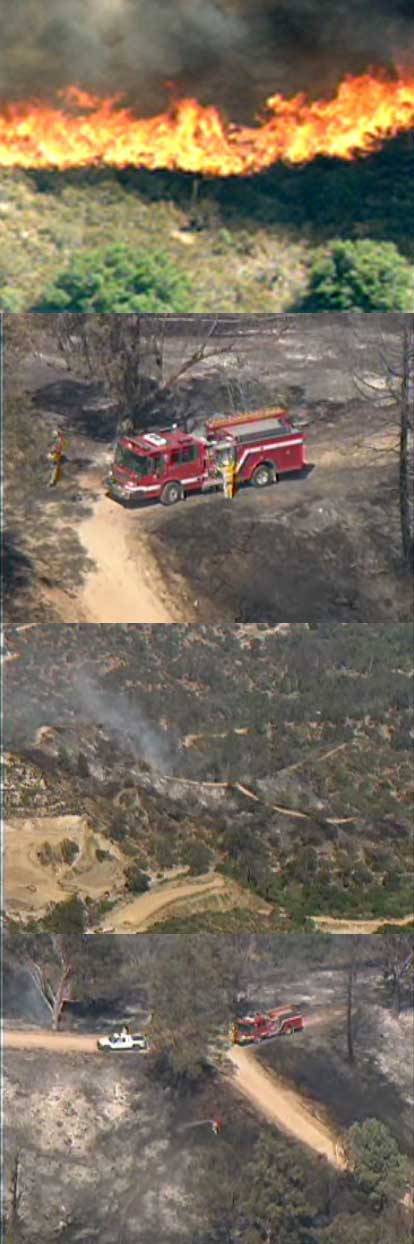 Firefighters put out a wildfire in Los Angeles's Griffith Park near Walt Disney's barn